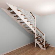 Проект лестницы на сосновом основании, ступени и поручень - дуб, ограждение - ковка. Стоимость $7800.