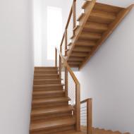 Деревянная лестница, ограждение с тросами.