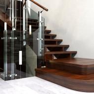 Визуализация лестницы со стеклянным ограждением