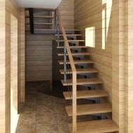 Проект лестницы на стальном центральном косоуре.