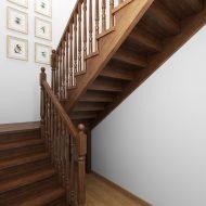 Визуализация классической деревянной лестницы с точеными балясинами.