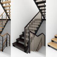 Проект лестницы на металлических косоурах с тремя вариантами ограждения.