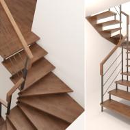 Лестница на косоурах и больцах с металлическим ограждением.