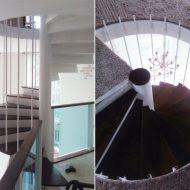 Винтовая металлическая лестница с дубовыми ступенями.
