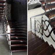 Лестница на больцах со стеклянным ограждением.