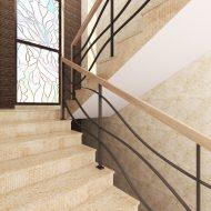 Ограждение лестницы с волнообразным заполнением