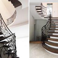 Лестница с дубовыми ступенями и кованым ограждением в винтажном стиле.