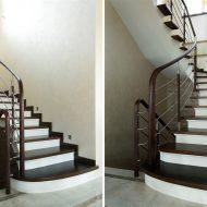 Лестница с комбинированным ограждением.