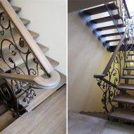 Лестница на косоурах из листового металла с дубовыми ступенями и кованым ограждением.