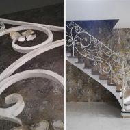 Кованое ограждение и ступени на бетонное основание