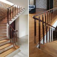 Комбинированное ограждение на бетонной лестнице.
